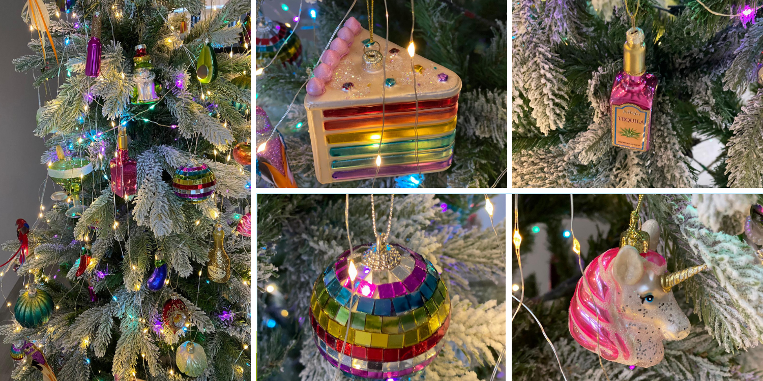 Brightly coloured Christmas decorations 2020