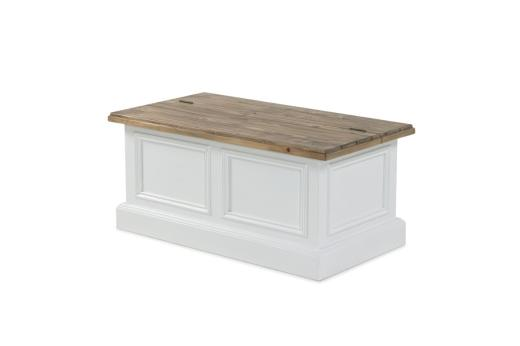 Hampton Colonial White Hand Crafted Solid Wood Storage Trunk Coffee Table Maison Rustic