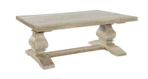 Monastery Light Washed Hand Crafted Solid Wood Coffee Table Maison Rustic