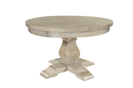 Monastery Light Washed Hand Crafted Solid Wood Round Dining Table Maison Rustic