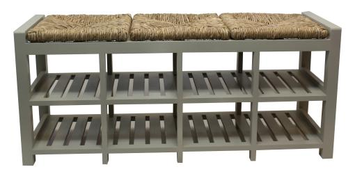 Pleasing Storage Bench Wood Two Shelf Three Seat Wicker Grey Onthecornerstone Fun Painted Chair Ideas Images Onthecornerstoneorg