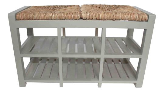 Brilliant Two Seater Grey Wooden Storage Bench With Wicker Seats Onthecornerstone Fun Painted Chair Ideas Images Onthecornerstoneorg